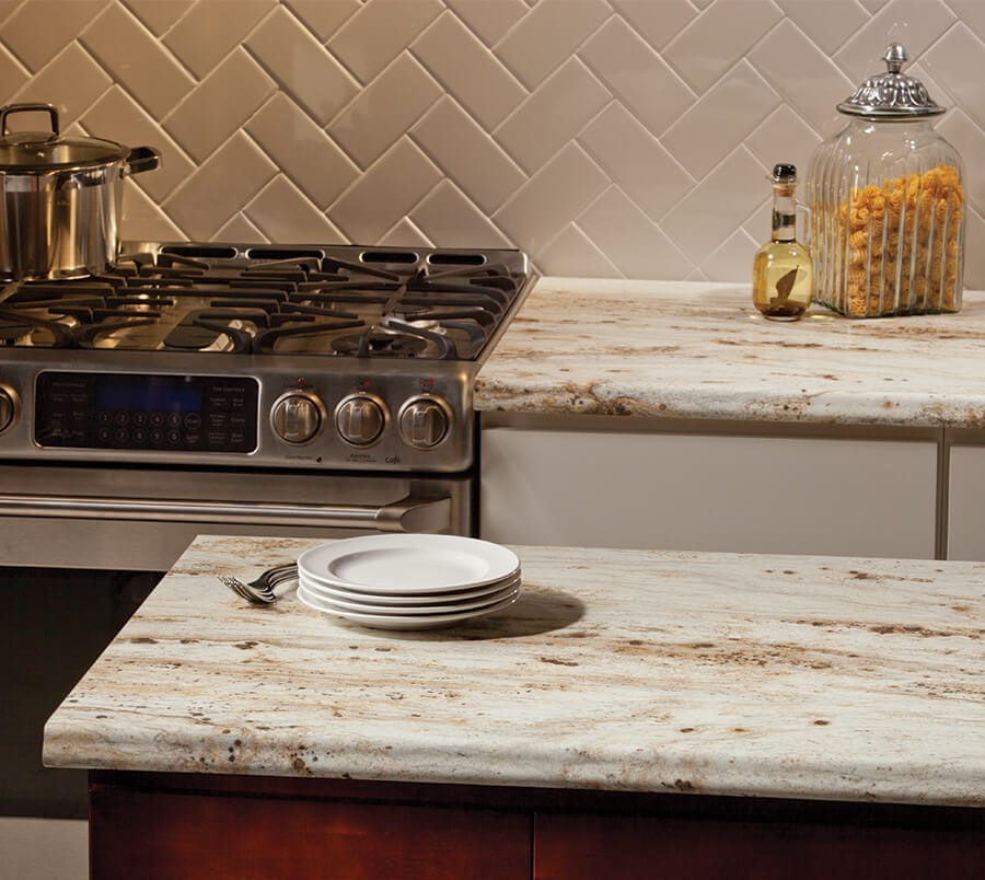 Vt industries laminate kitchen and granite countertops for Granite countertop width