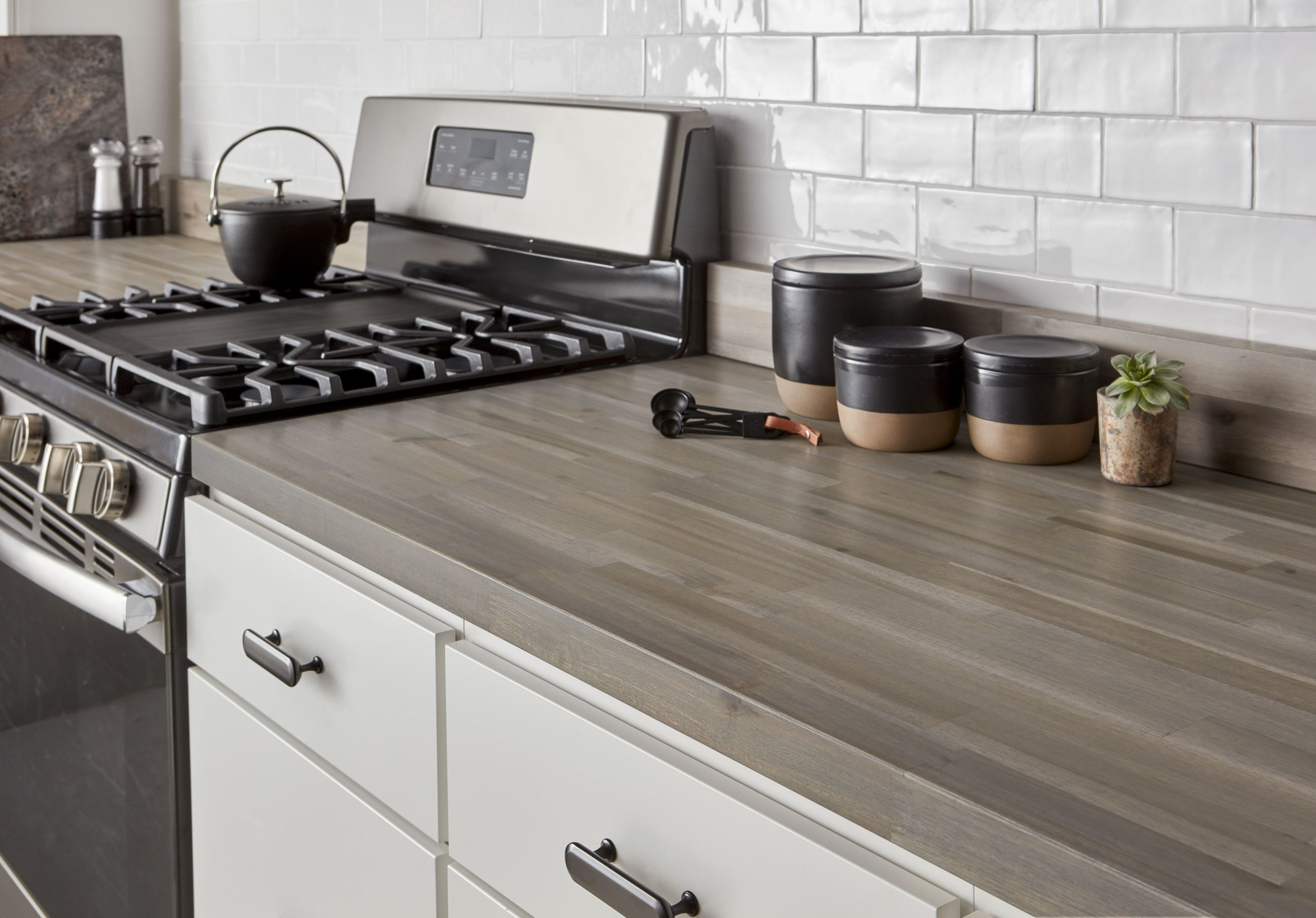 CenterPointe Kitchen with Acacia Butcher Block in Grey Stain